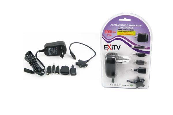 ALIMENTATORE SWITCHING  STAB. 5VOLT 2000MA+5 PLUG+USB+SPLIT.