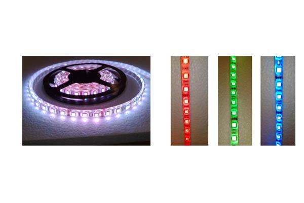 STRISCIA DA 300 LED RGB 5 MT. 12V72W 5050 SFONDO BIANCO EXITV
