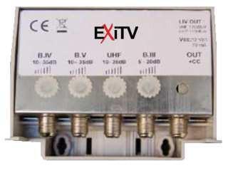 MINI CENTRALINO DA PALO ( III 20DB UHF 35DB 2 USCITE) EXITV